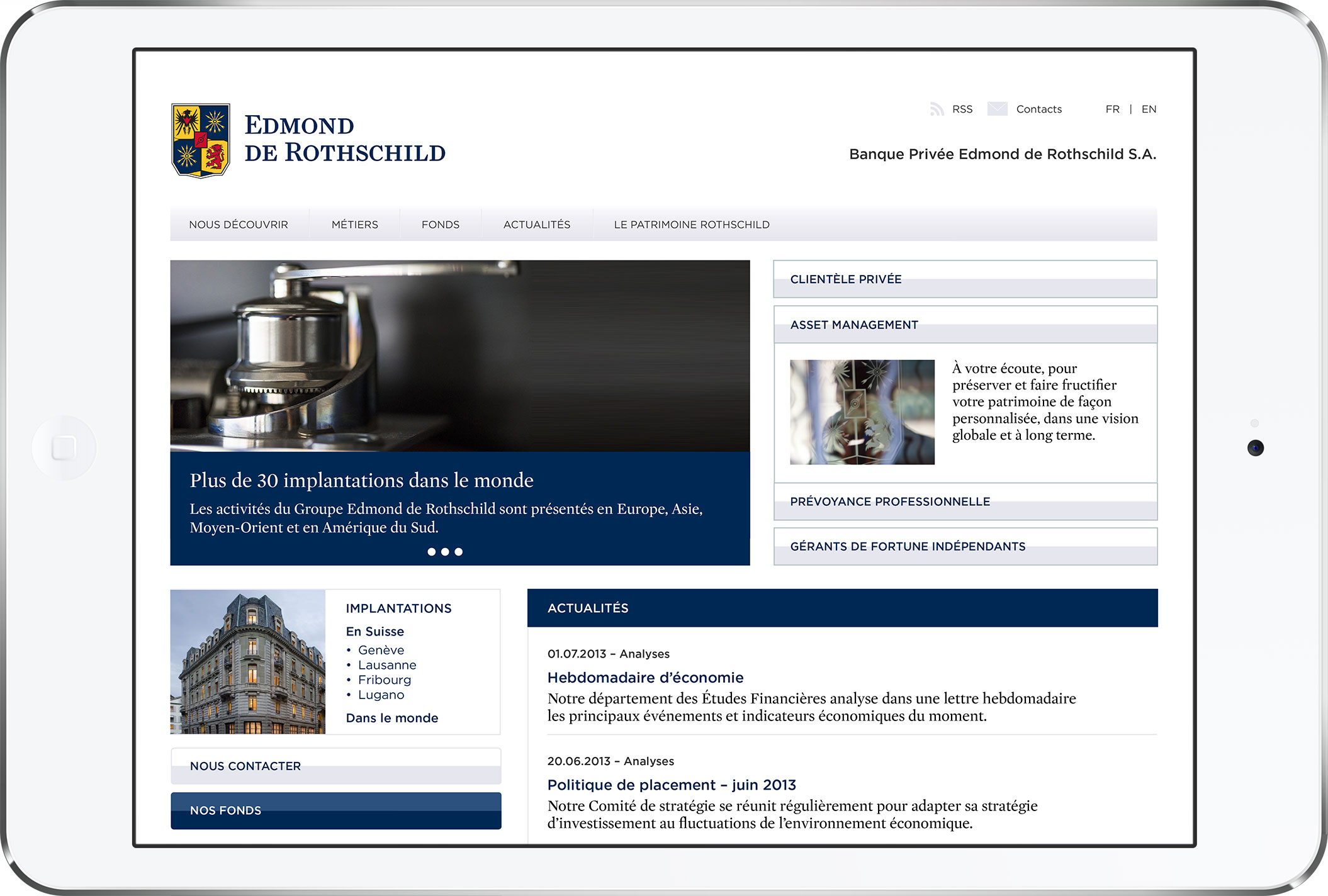 Banque Privée Edmond de Rothschild Homepage